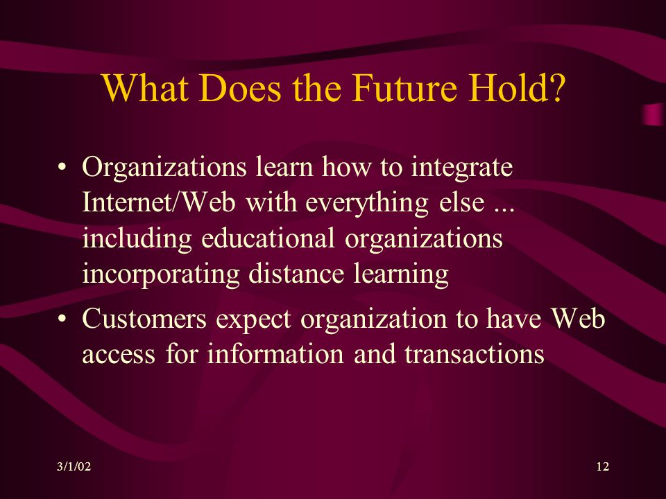 3/1/0212 What Does the Future Hold? Organizations learn how to integrate Internet/Web with everything else... including educational organizations inco