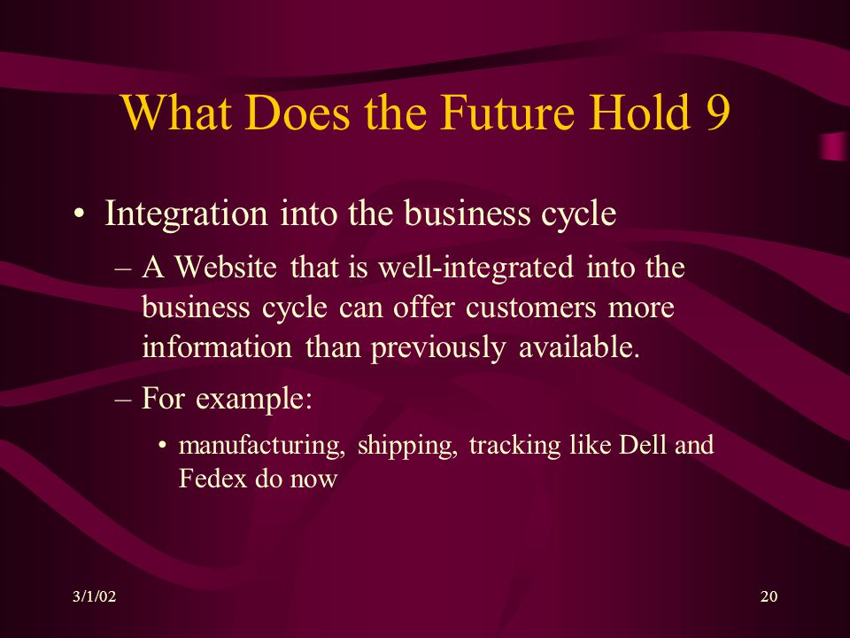 3/1/0220 What Does the Future Hold 9 Integration into the business cycle –A Website that is well-integrated into the business cycle can offer customer