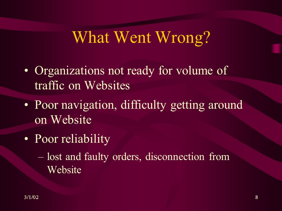 3/1/028 What Went Wrong? Organizations not ready for volume of traffic on Websites Poor navigation, difficulty getting around on Website Poor reliabil