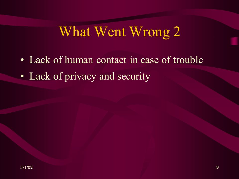 3/1/029 What Went Wrong 2 Lack of human contact in case of trouble Lack of privacy and security