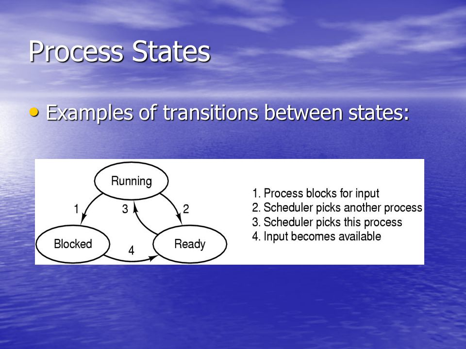 Process States Examples of transitions between states: Examples of transitions between states: