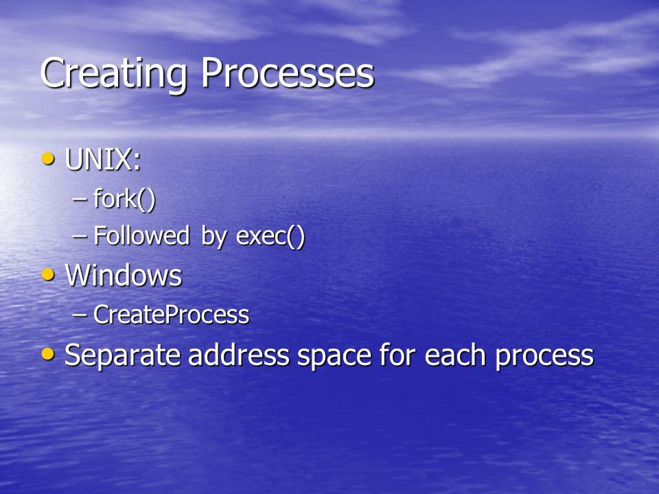 Creating Processes UNIX: UNIX: –fork() –Followed by exec() Windows Windows –CreateProcess Separate address space for each process Separate address spa