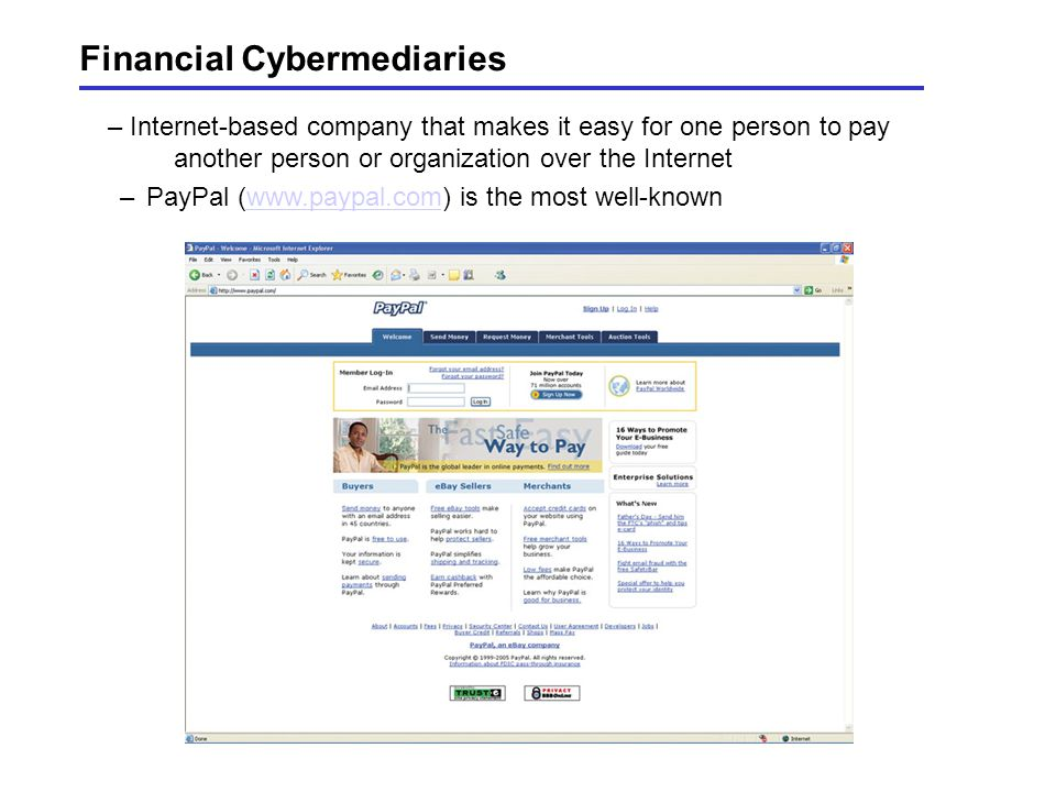 Financial Cybermediaries – Internet-based company that makes it easy for one person to pay another person or organization over the Internet –PayPal (www.paypal.com) is the most well-knownwww.paypal.com