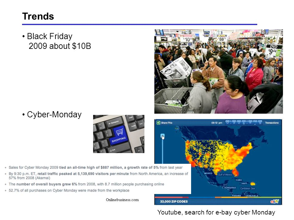 Trends Black Friday 2009 about $10B Cyber-Monday Youtube, search for e-bay cyber Monday Onlinebusiness.com