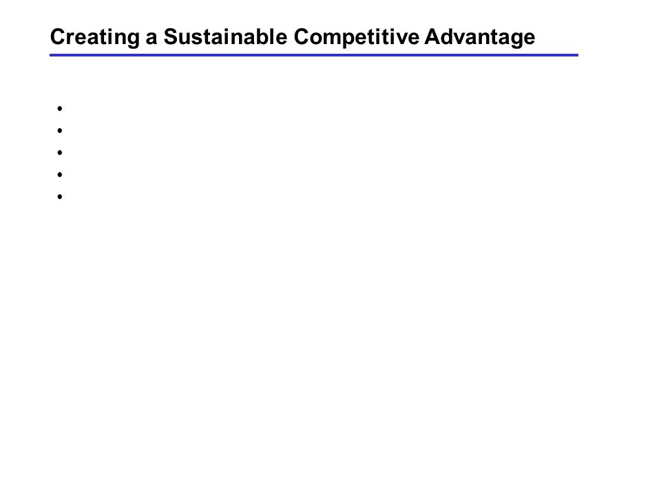Creating a Sustainable Competitive Advantage