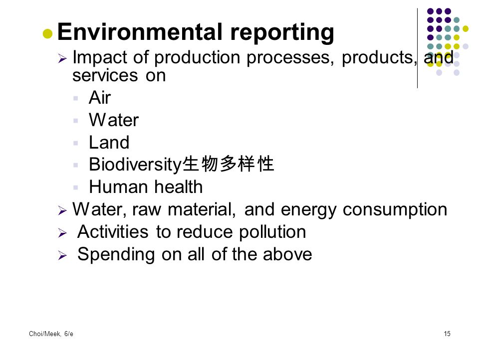 Environmental reporting  Impact of production processes, products, and services on  Air  Water  Land  Biodiversity 生物多样性  Human health  Water,