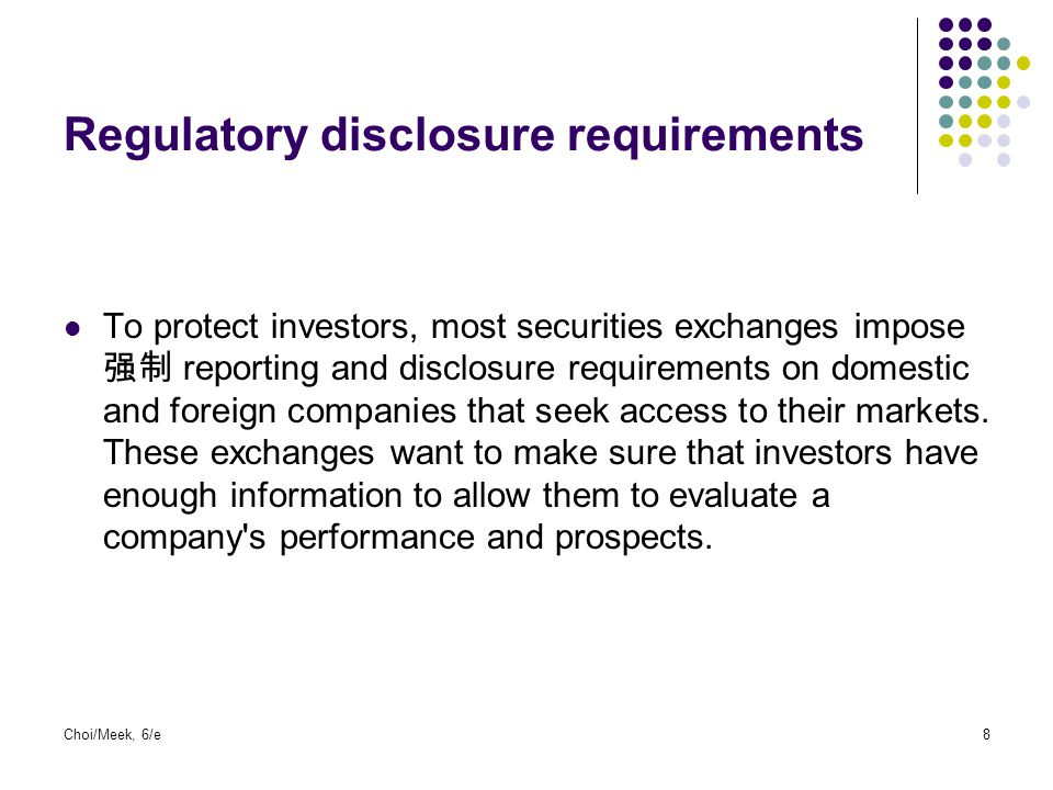 9 Twin objectives of investor oriented markets  Investor protection  Investors are provided with material information.