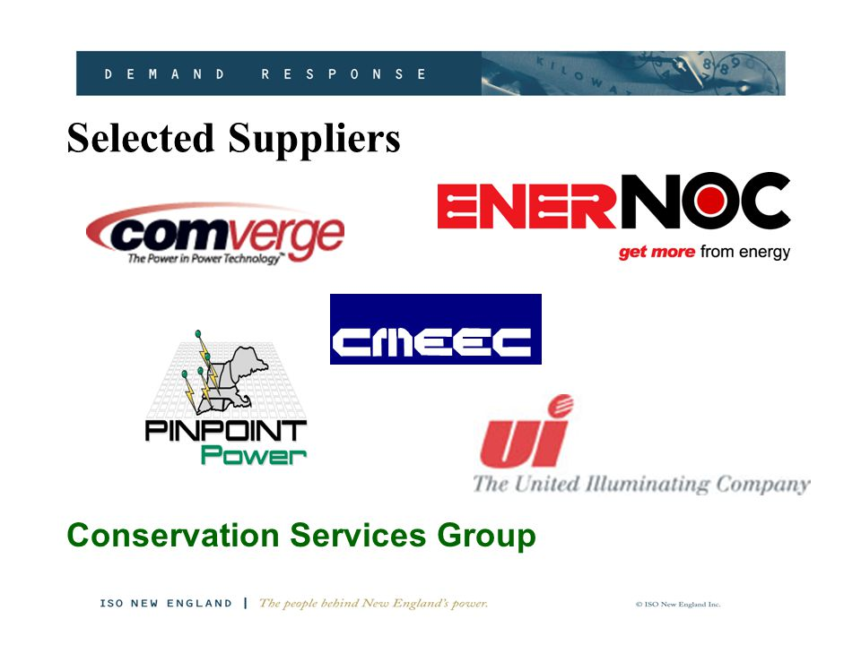 Selected Suppliers Conservation Services Group