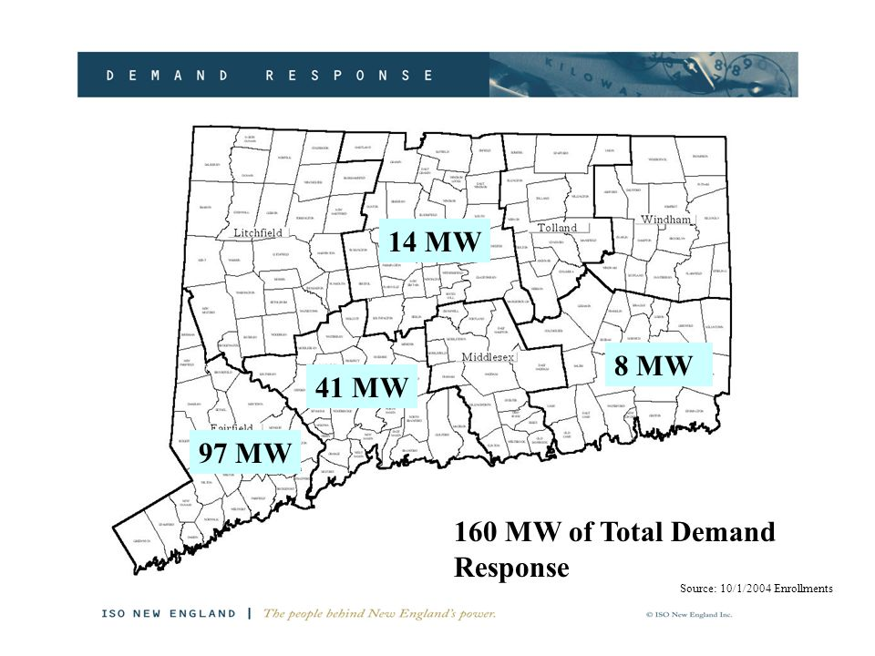 97 MW 14 MW 41 MW 8 MW 160 MW of Total Demand Response Source: 10/1/2004 Enrollments