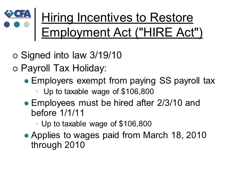 Hiring Incentives to Restore Employment Act (