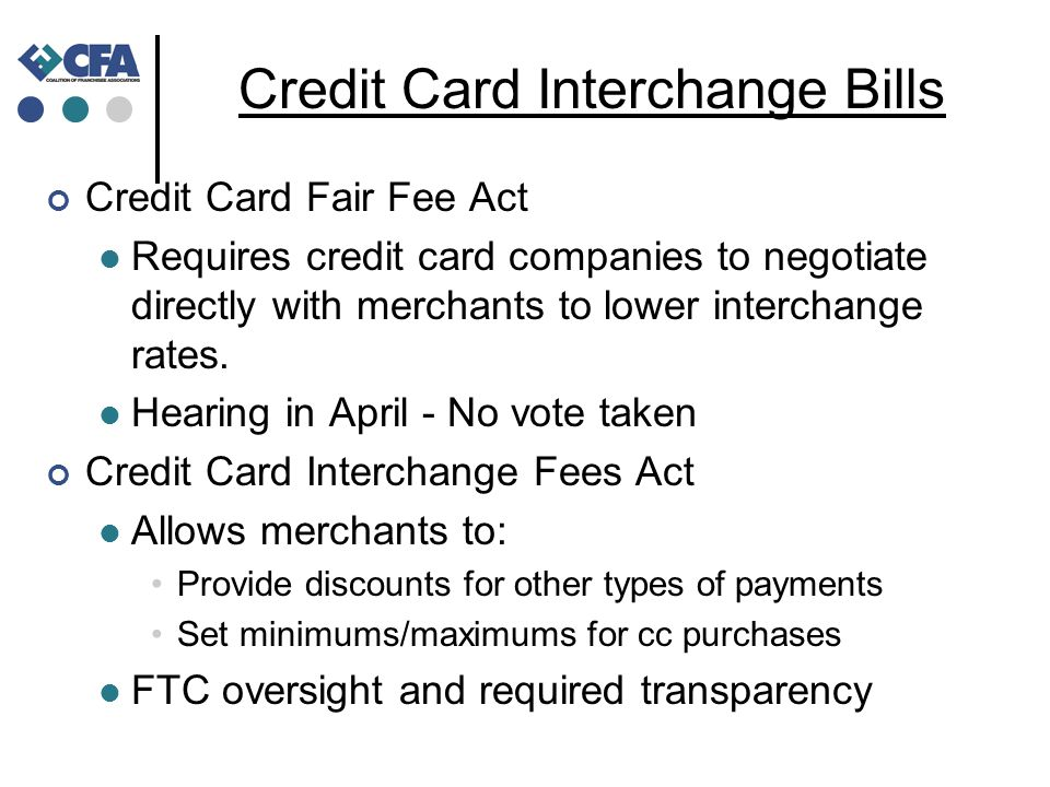 Credit Card Interchange Fees – Financial Services Mid-May: Sen.