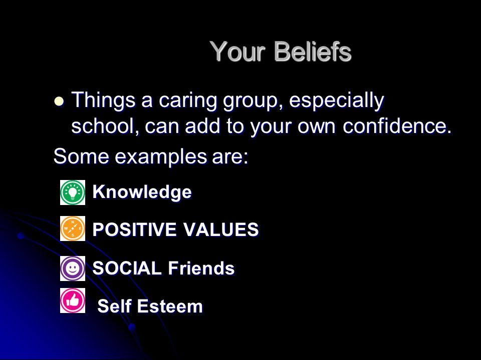 Your Beliefs Things a caring group, especially school, can add to your own confidence. Things a caring group, especially school, can add to your own c