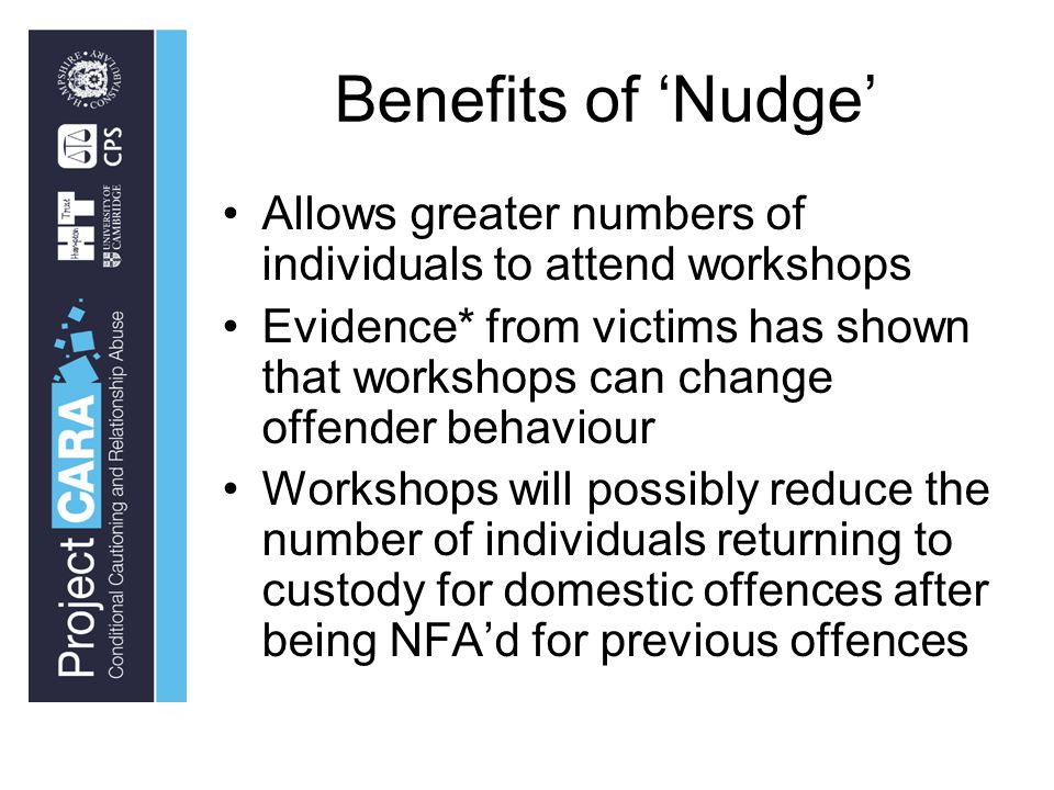 Benefits of 'Nudge' Allows greater numbers of individuals to attend workshops Evidence* from victims has shown that workshops can change offender behaviour Workshops will possibly reduce the number of individuals returning to custody for domestic offences after being NFA'd for previous offences