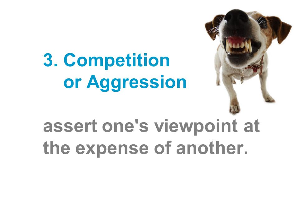 3. Competition or Aggression – assert one s viewpoint at the expense of another.