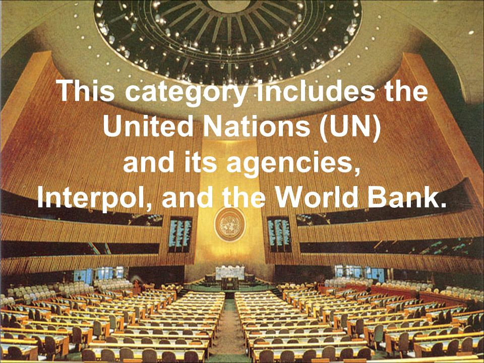 This category includes the United Nations (UN) and its agencies, Interpol, and the World Bank.