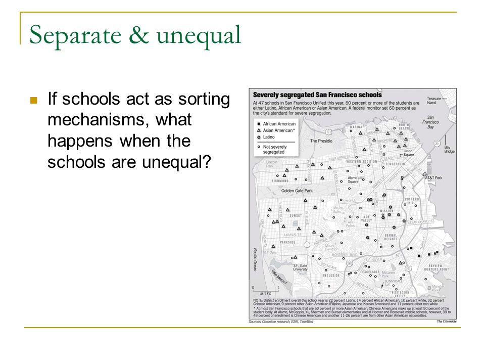 Separate & unequal If schools act as sorting mechanisms, what happens when the schools are unequal?