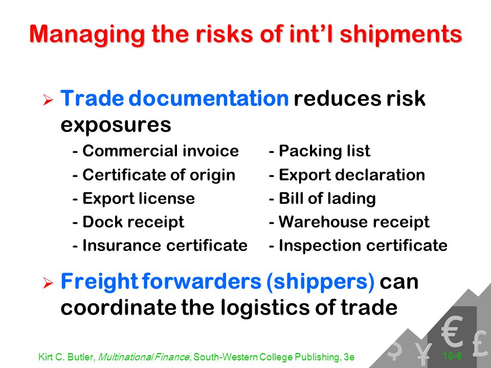 Kirt C. Butler, Multinational Finance, South-Western College Publishing, 3e 10-6 Managing the risks of int'l shipments  Trade documentation reduces r