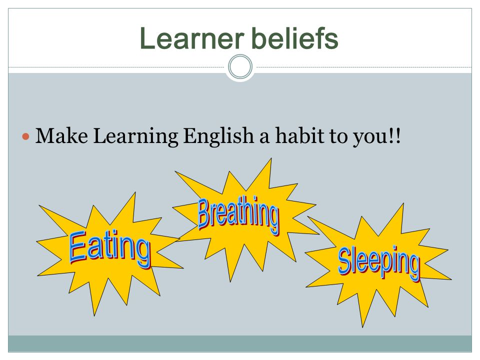 Learner beliefs Make Learning English a habit to you!!