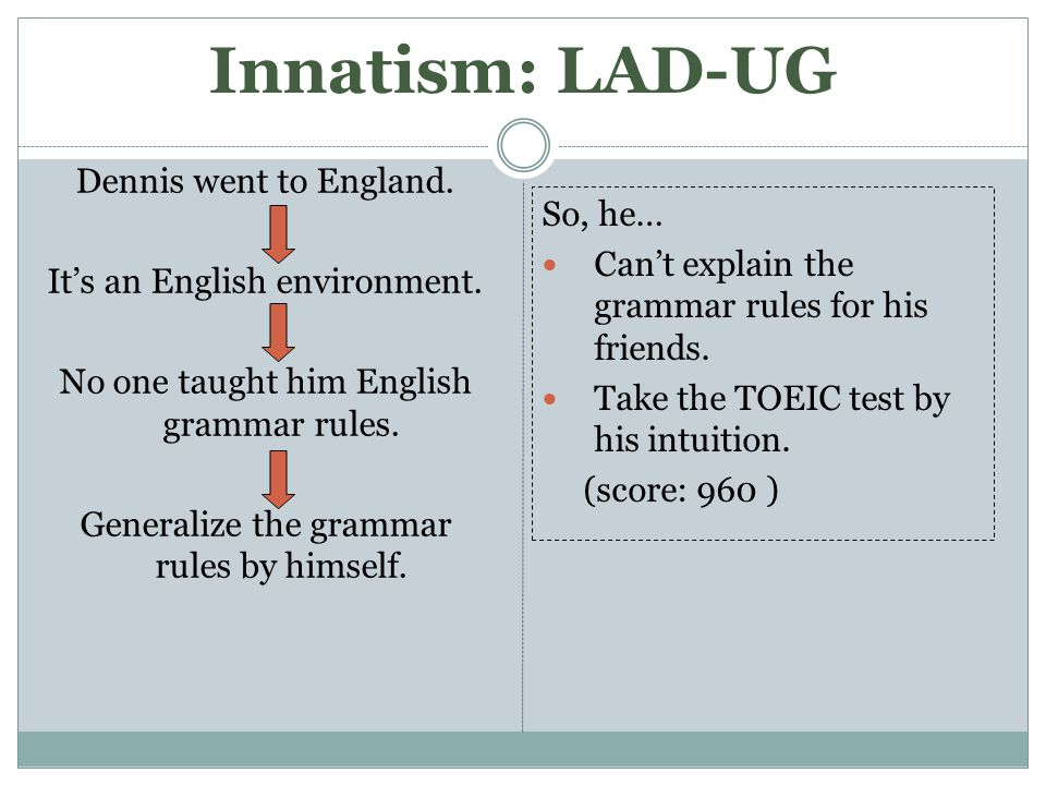 Innatism: LAD-UG Dennis went to England. It's an English environment.