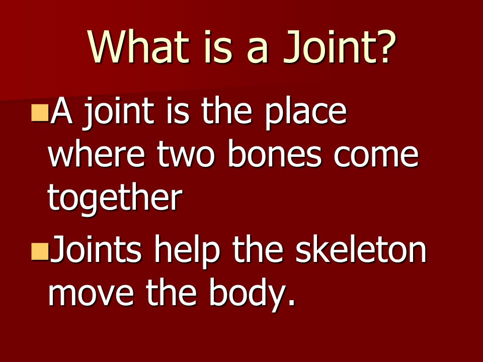 What is a Joint? A joint is the place where two bones come together A joint is the place where two bones come together Joints help the skeleton move t