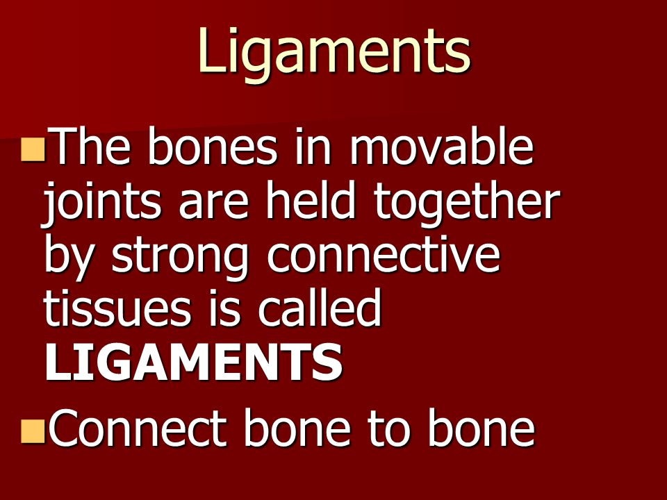 Ligaments The bones in movable joints are held together by strong connective tissues is called LIGAMENTS The bones in movable joints are held together