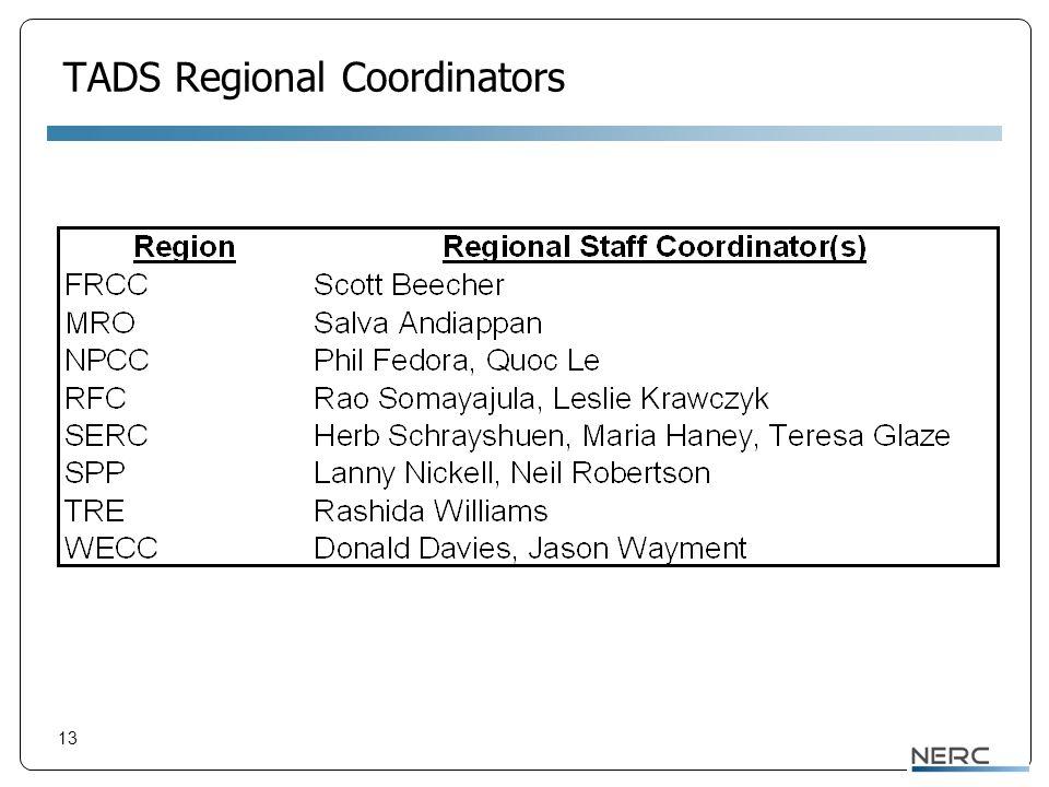 13 TADS Regional Coordinators