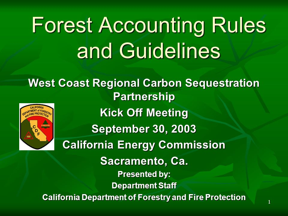 1 Forest Accounting Rules and Guidelines West Coast Regional Carbon Sequestration Partnership Kick Off Meeting September 30, 2003 California Energy Commission Sacramento, Ca.