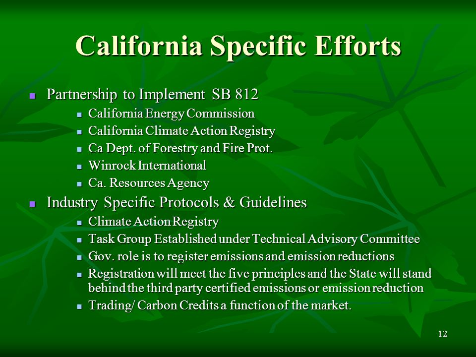 12 California Specific Efforts Partnership to Implement SB 812 Partnership to Implement SB 812 California Energy Commission California Energy Commission California Climate Action Registry California Climate Action Registry Ca Dept.