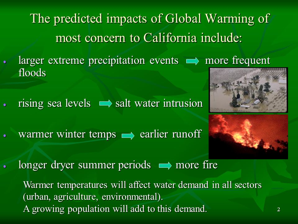 3 The predicted impacts of Global Warming of most concern to California include: Reduced summer runoff of fresh water Reduced summer runoff of fresh water Increased winter rains intensify flooding and landslides Increased winter rains intensify flooding and landslides Reduced coastal fog Reduced coastal fog Longer, hotter summers Longer, hotter summers Invasive species out compete natives for critical resources Invasive species out compete natives for critical resources Climate changes increase the number of endangered species Climate changes increase the number of endangered species Pest species become more prominent or destructive Pest species become more prominent or destructive Longer dry periods will decrease forest fuel moisture Longer dry periods will decrease forest fuel moisture Fisheries negatively impacted Fisheries negatively impacted Cycles of beach and cliff erosion from wave damage Cycles of beach and cliff erosion from wave damage