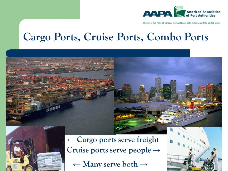 Cargo Ports, Cruise Ports, Combo Ports ← Cargo ports serve freight Cruise ports serve people → ← Many serve both →