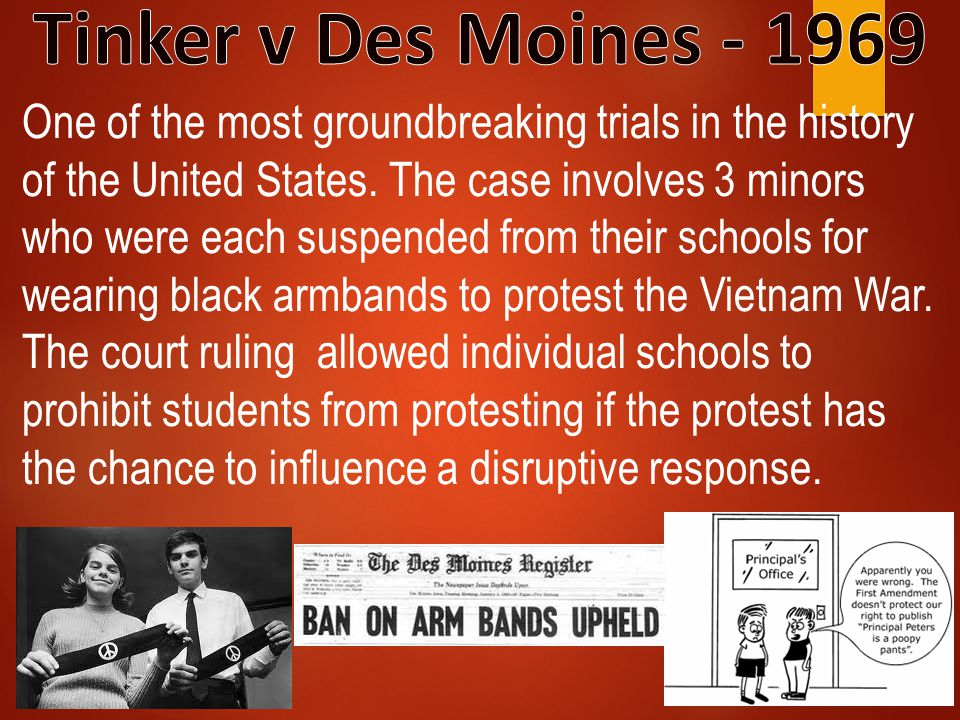 One of the most groundbreaking trials in the history of the United States. The case involves 3 minors who were each suspended from their schools for w