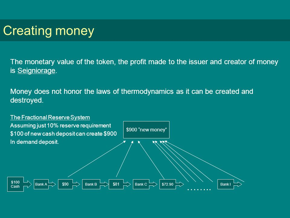 Creating money The monetary value of the token, the profit made to the issuer and creator of money is Seigniorage.