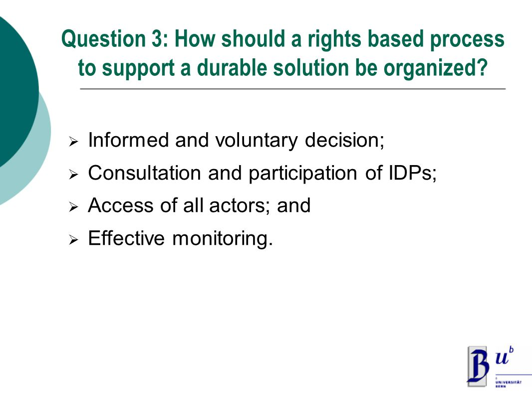 Question 3: How should a rights based process to support a durable solution be organized.