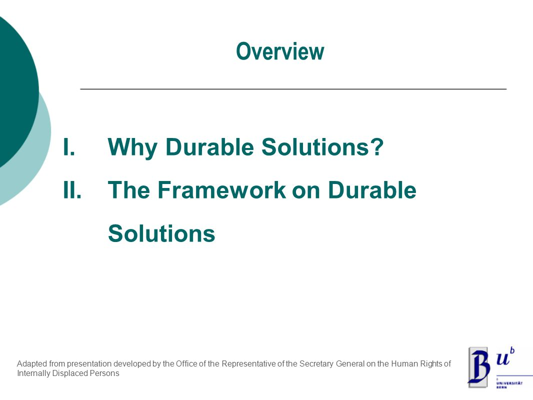 Overview I.Why Durable Solutions.