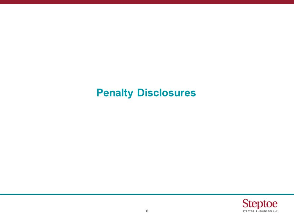 Voluntary Disclosures to Avoid Penalties  Treas.Reg.