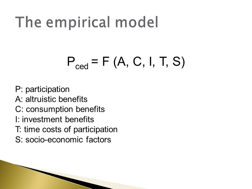 P ced = F (A, C, I, T, S) P: participation A: altruistic benefits C: consumption benefits I: investment benefits T: time costs of participation S: soc