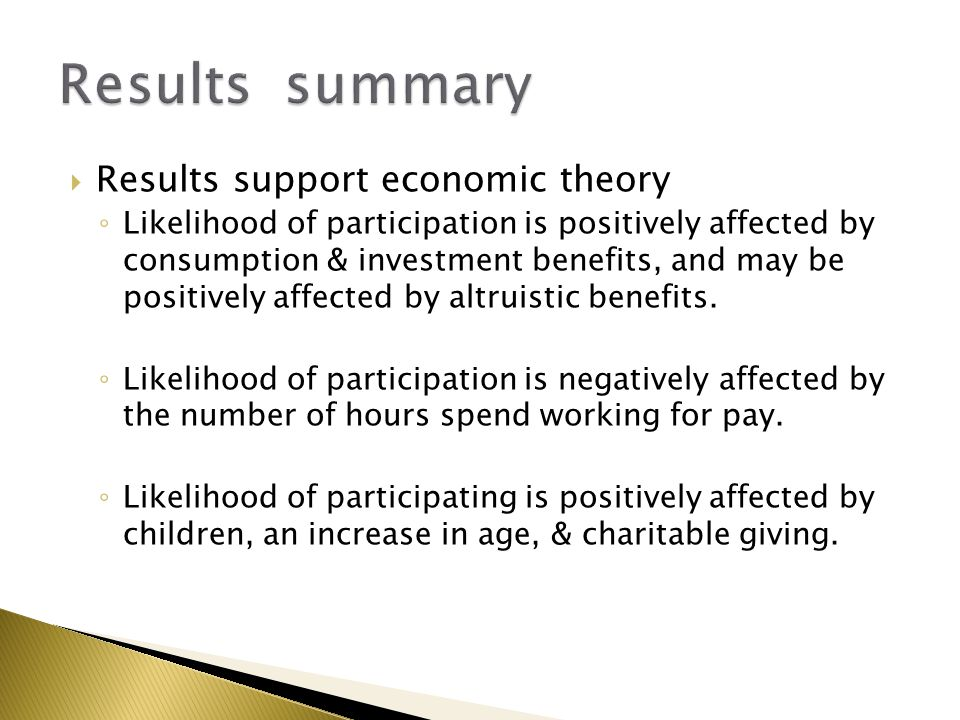  Results support economic theory ◦ Likelihood of participation is positively affected by consumption & investment benefits, and may be positively aff
