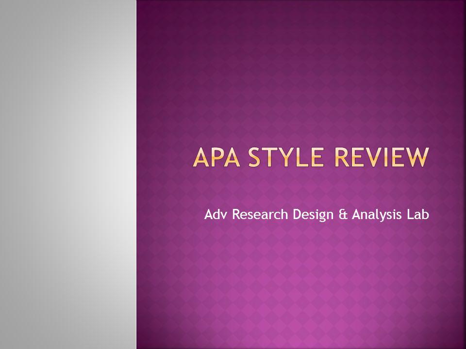 Adv Research Design & Analysis Lab