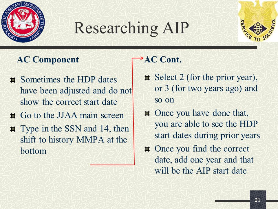 Researching AIP AC Component Sometimes the HDP dates have been adjusted and do not show the correct start date Go to the JJAA main screen Type in the SSN and 14, then shift to history MMPA at the bottom AC Cont.