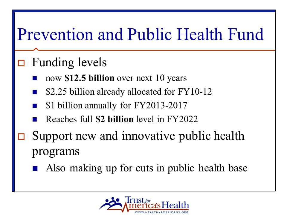 Prevention and Public Health Fund  Funding levels now $12.5 billion over next 10 years $2.25 billion already allocated for FY10-12 $1 billion annually for FY2013-2017 Reaches full $2 billion level in FY2022  Support new and innovative public health programs Also making up for cuts in public health base