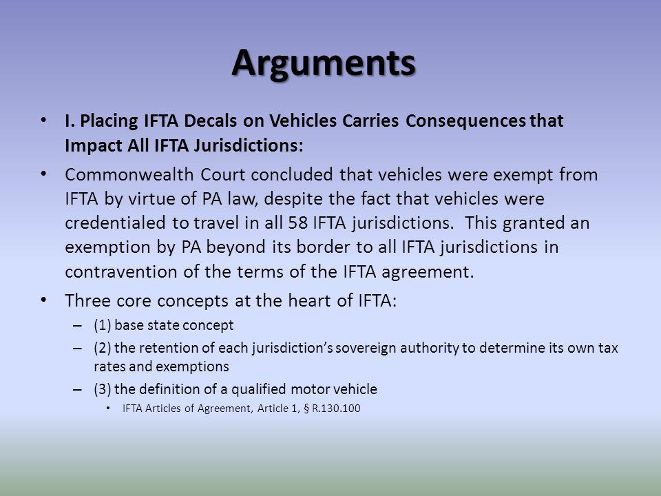 Arguments I.