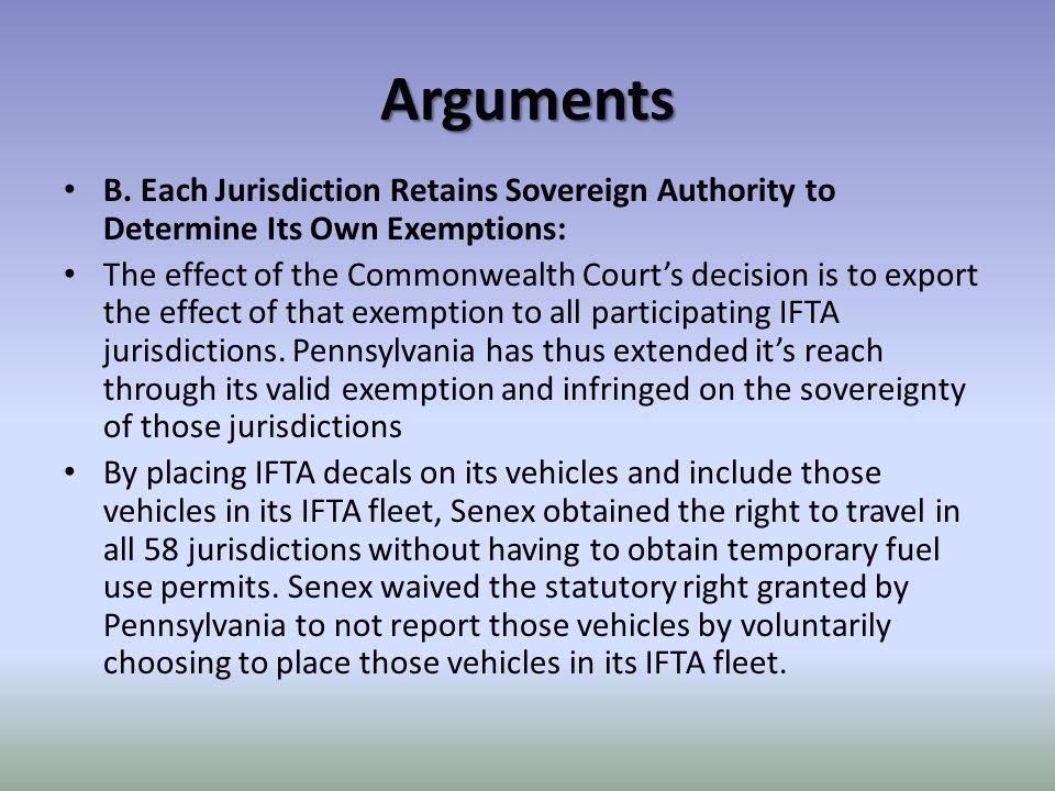 Arguments B.