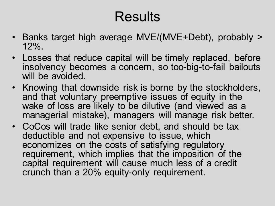 Results Banks target high average MVE/(MVE+Debt), probably > 12%.