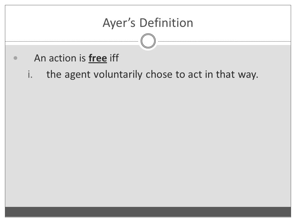 Ayer's Definition An action is free iff i.the agent voluntarily chose to act in that way.