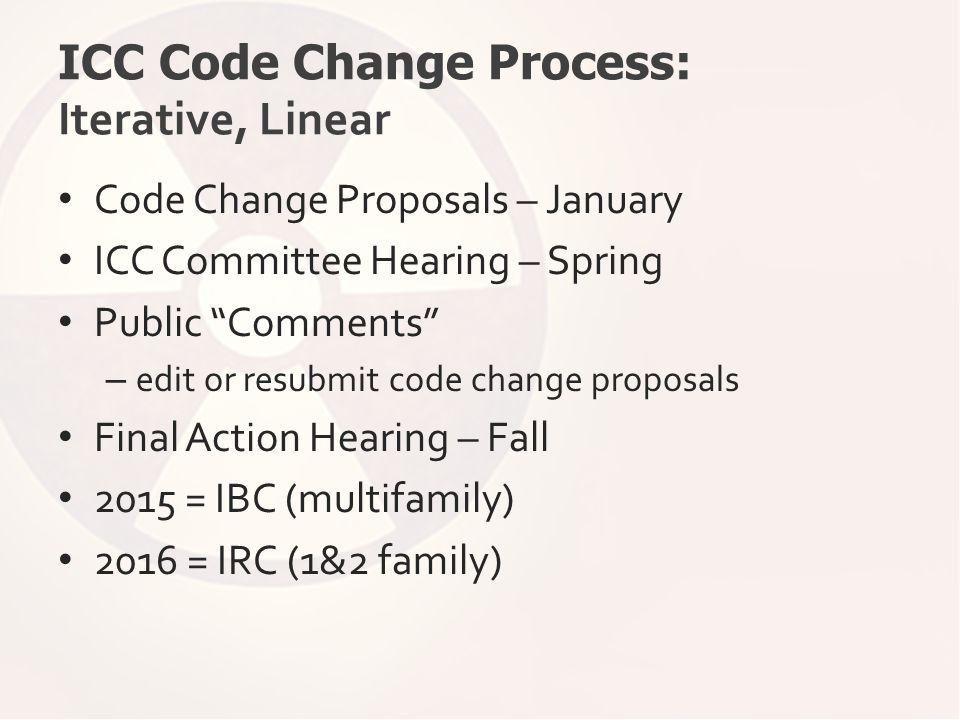 "ICC Code Change Process: Iterative, Linear Code Change Proposals – January ICC Committee Hearing – Spring Public ""Comments"" – edit or resubmit code ch"