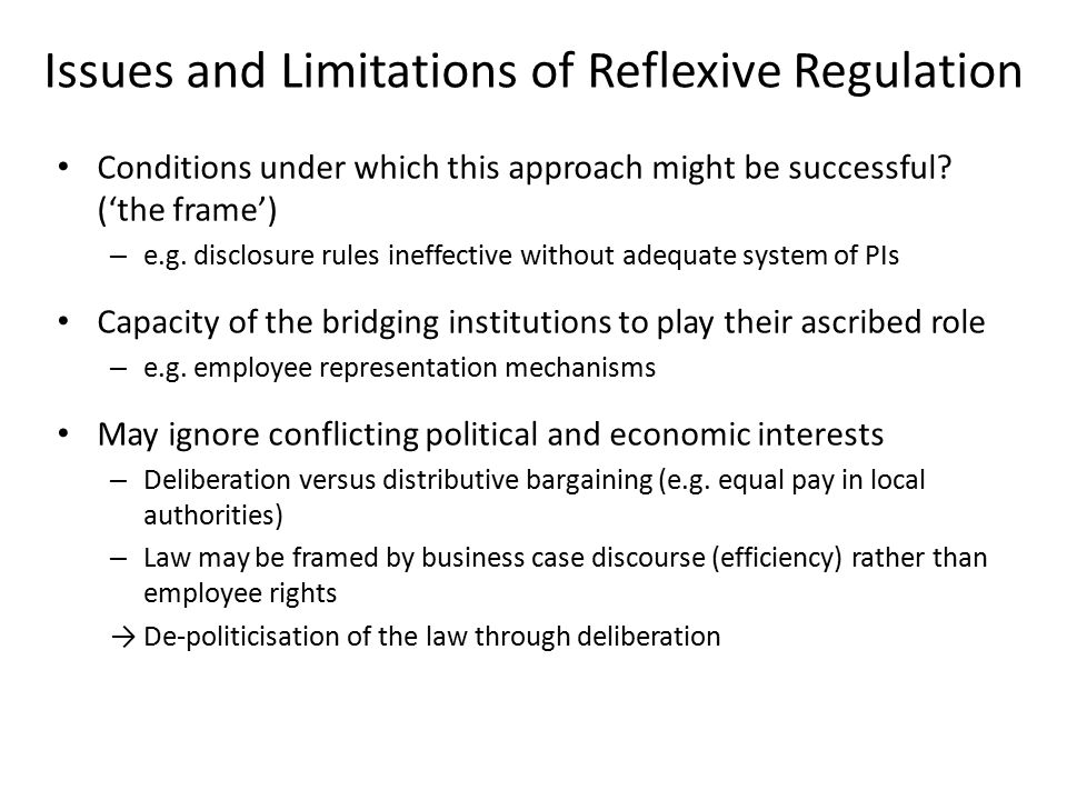 Issues and Limitations of Reflexive Regulation Conditions under which this approach might be successful.
