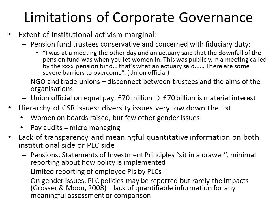 Pay audits as 'reflexive regulation' Mandatory Pay audits = reflexive regulation – Commit actors to a process (analyse pay) not a specific outcome, requires transparency about process and results → might open up deliberation about the pay gap and potential solutions Pay audits in our sample of organisations – All had conducted pay audits but only one private sector firm had shared the results with staff – We would only do it voluntarily if it would show us in a good light… Without the law we would never do it (HR Manager, PLC) – Fear of reputational risk (e.g.