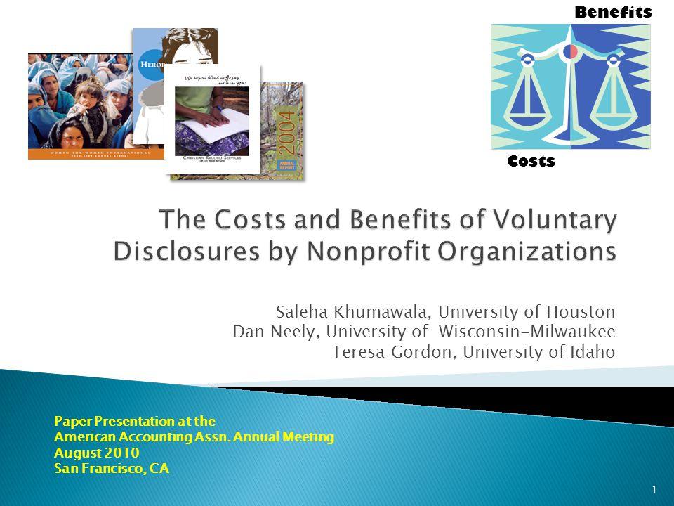 Saleha Khumawala, University of Houston Dan Neely, University of Wisconsin-Milwaukee Teresa Gordon, University of Idaho Paper Presentation at the American Accounting Assn.