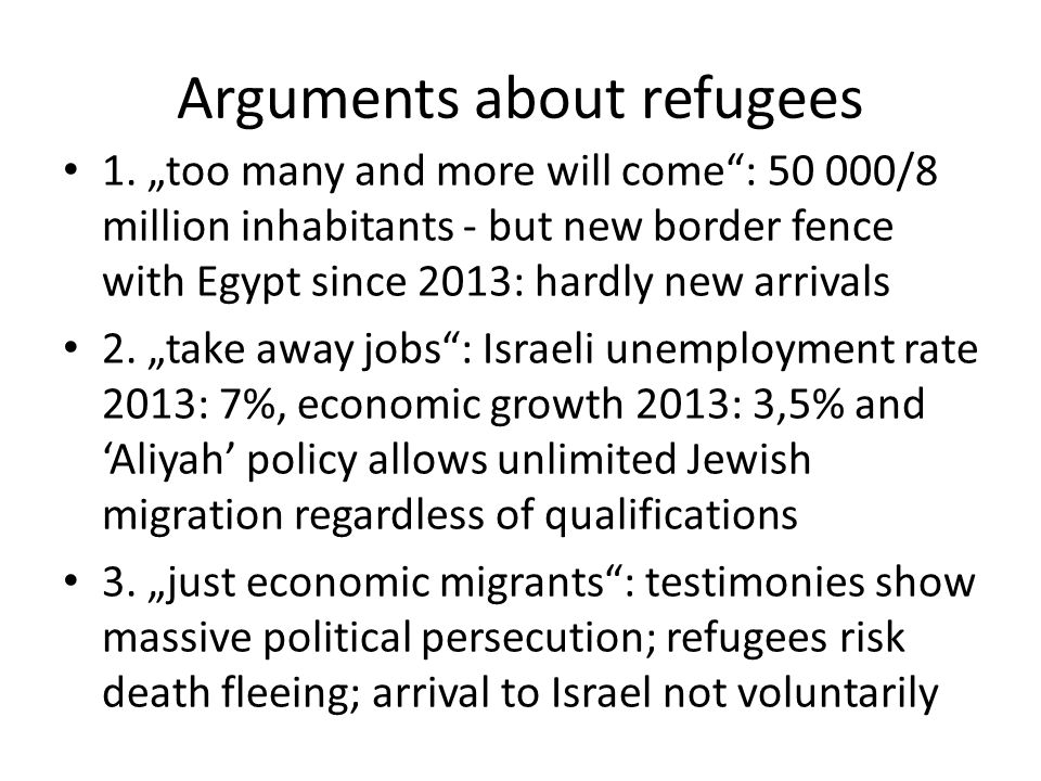 Arguments about refugees 1.