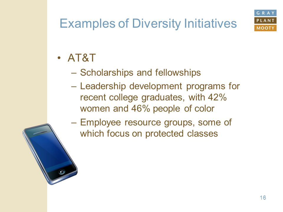 Examples of Diversity Initiatives AT&T –Scholarships and fellowships –Leadership development programs for recent college graduates, with 42% women and